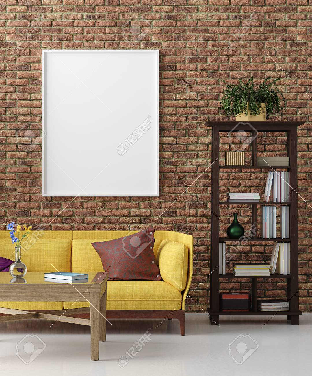 Mockup In Colorful Hipster Living Room Bohemian Style 3d Render