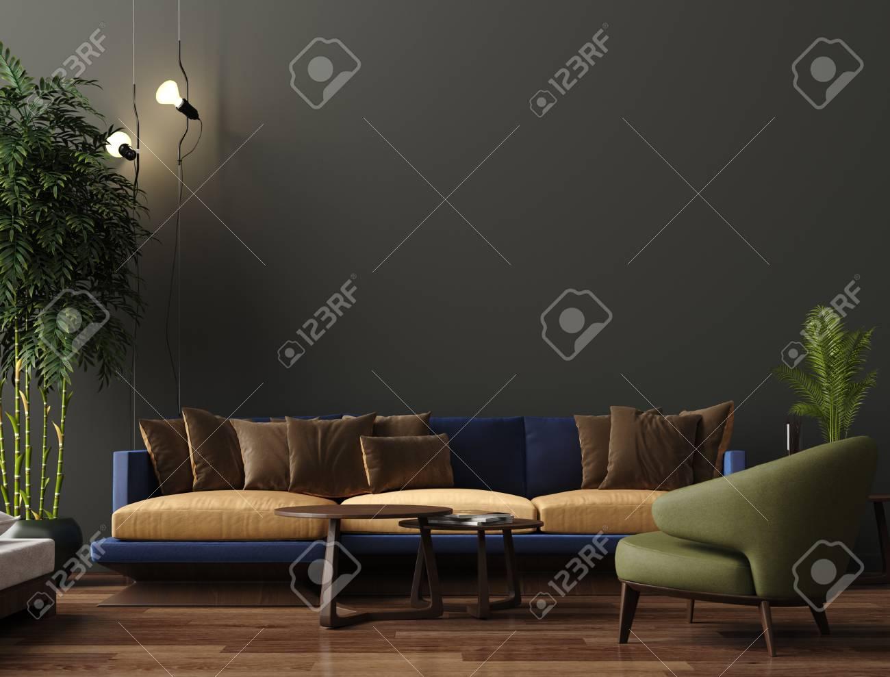 Brilliant Luxury Modern Living Room Interior Dark Green Brown Wall Modern Creativecarmelina Interior Chair Design Creativecarmelinacom