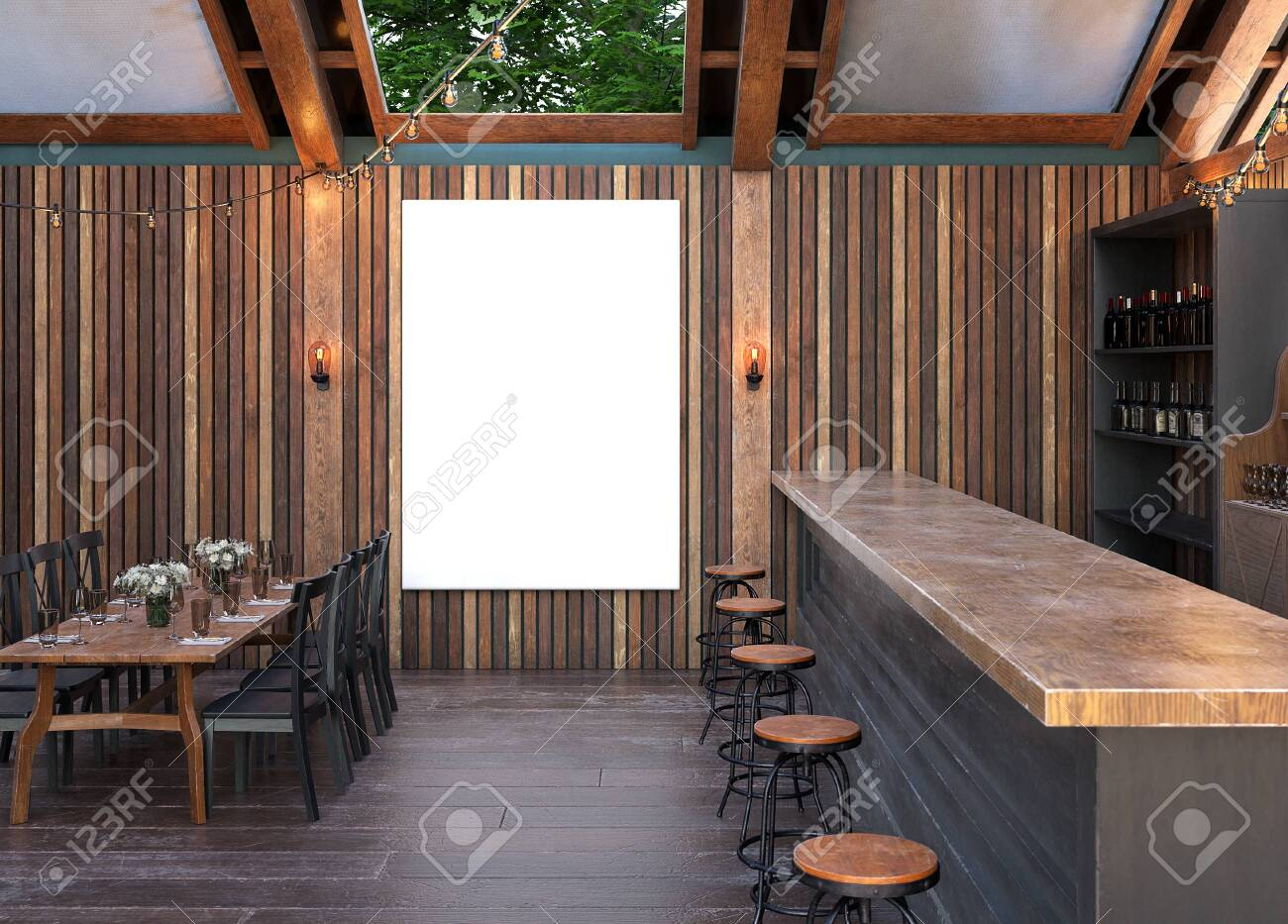 Mock Up Poster Frame In Cafe Interior Background Modern Outdoor Stock Photo Picture And Royalty Free Image Image 120463792