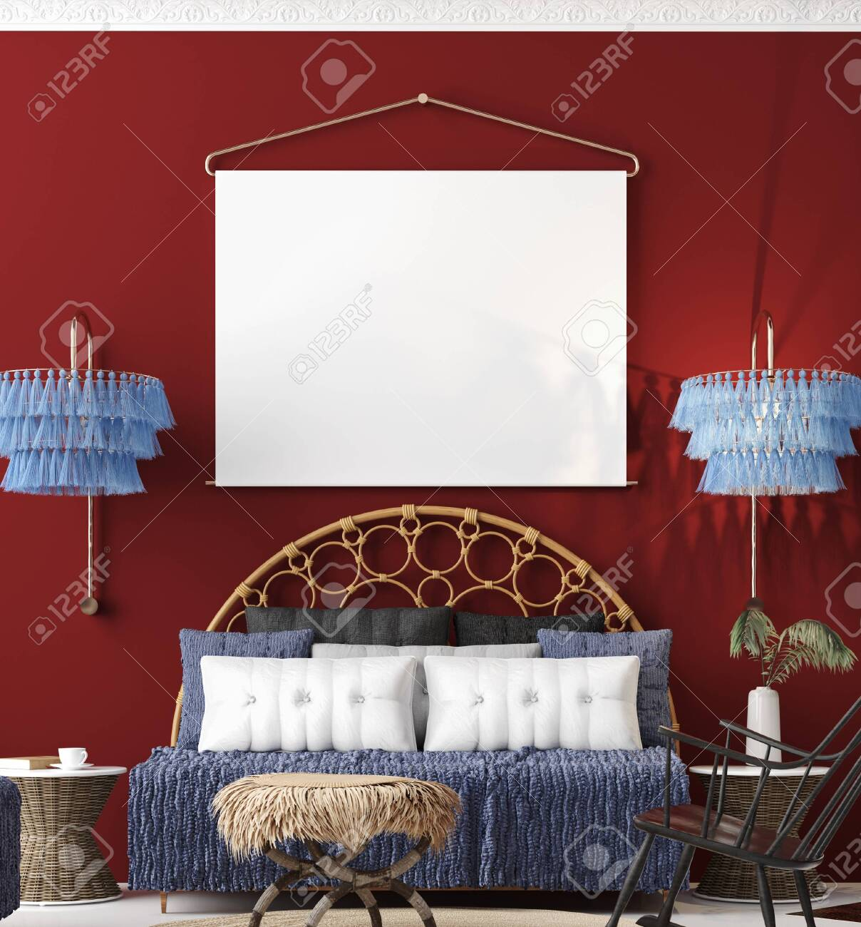 Mock Up Poster In Living Room Interior Bohemian Style 3d Render