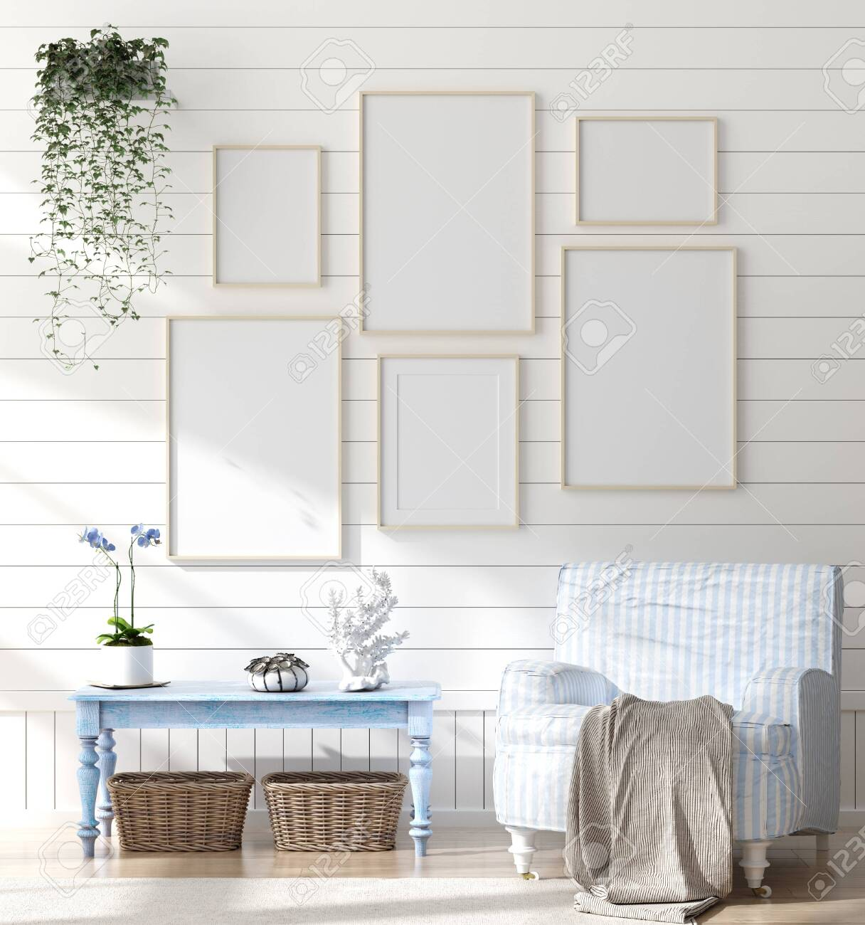 Mock Up Frame In Home Interior Background Coastal Style Living Stock Photo Picture And Royalty Free Image Image 124697958