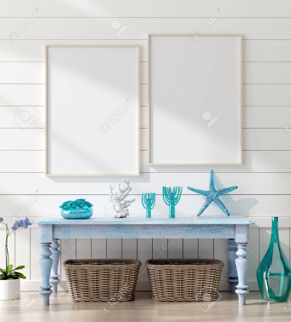 Mock Up Frame In Home Interior Background Coastal Style Living Stock Photo Picture And Royalty Free Image Image 124697960