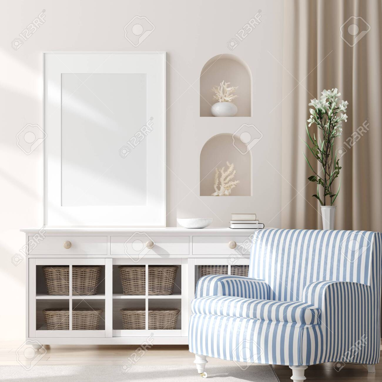 Mock Up Frame In Home Interior Background Coastal Style Living Stock Photo Picture And Royalty Free Image Image 124697976