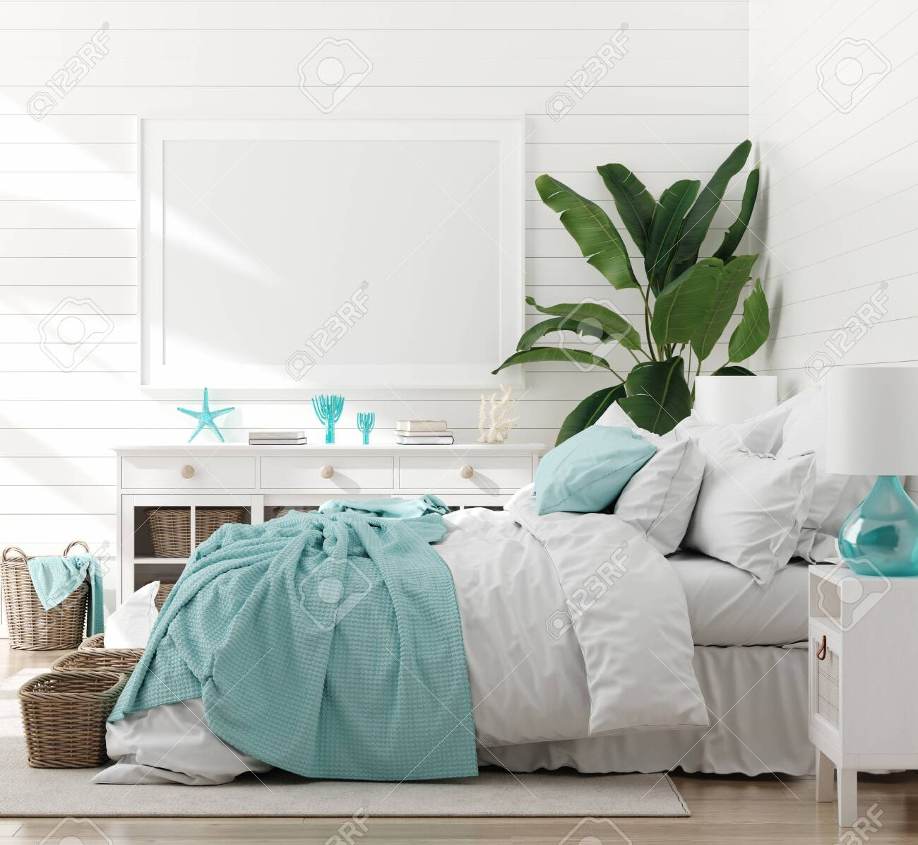 Mock up frame in bedroom interior, marine room with sea decor and furniture, Coastal style, 3d render - 124697988