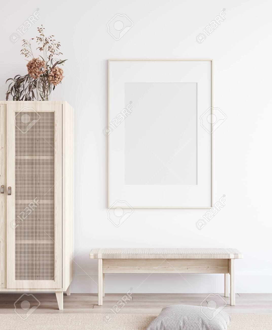 Mock up poster in Scandinavian home interior, 3d render - 131973340