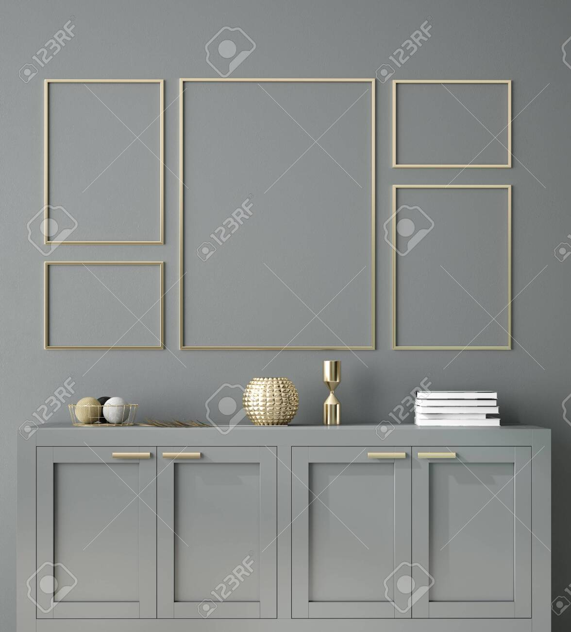 Poster, wall mockup with cabinet and decor in interior background, 3d rendering - 131973607