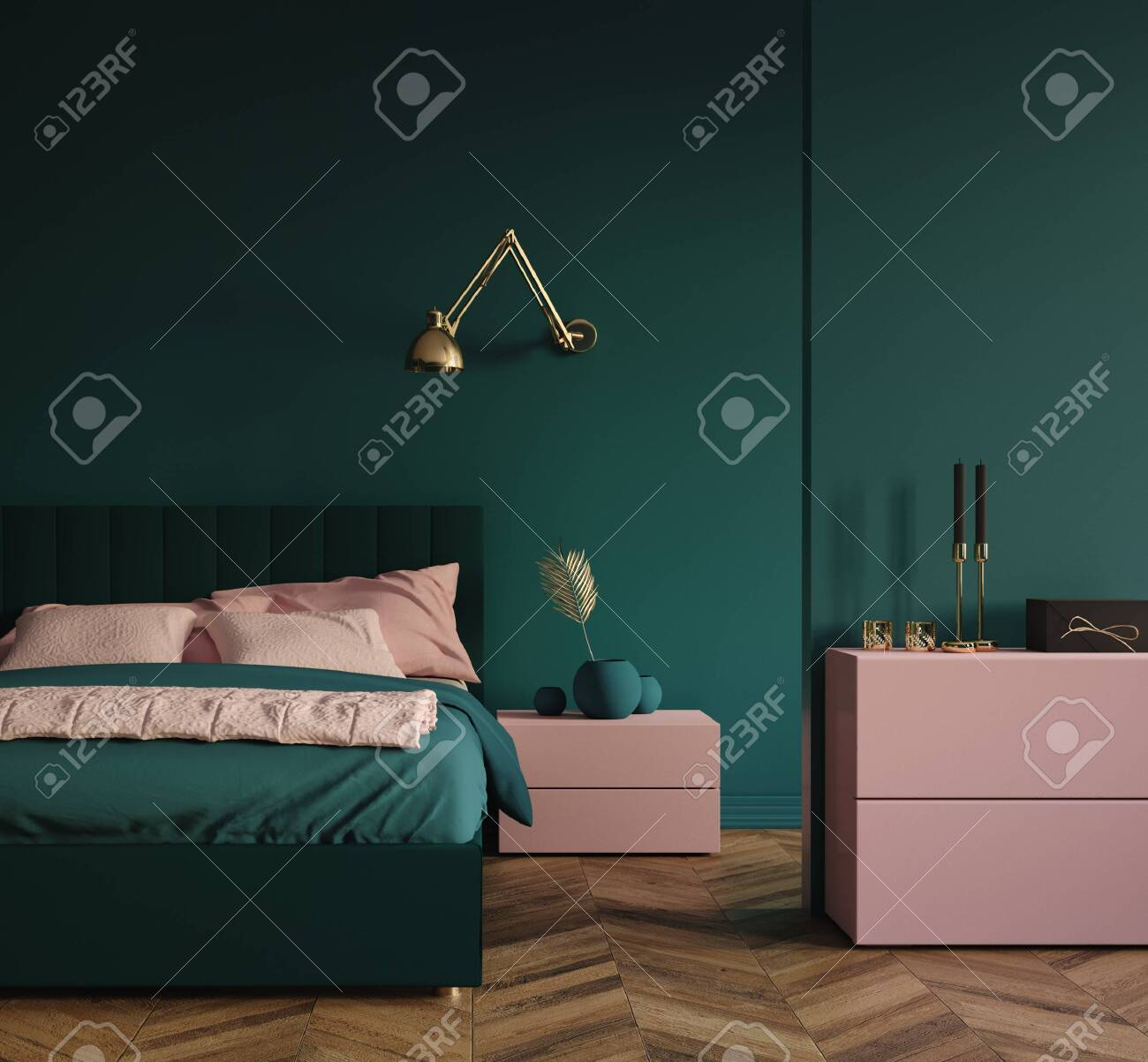 Modern Dark Green Bedroom Interior With Pink Elements And Golden Stock Photo Picture And Royalty Free Image Image 136549633