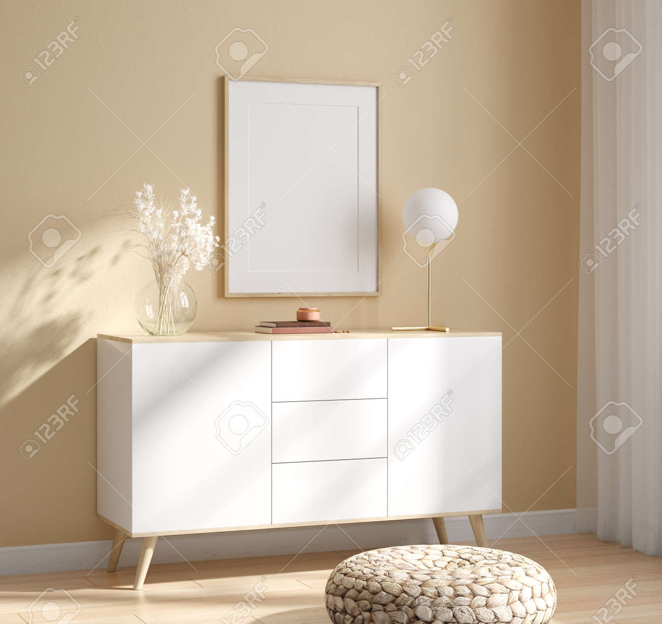 Mockup frame in interior background, room in light pastel colors, Scandinavian style, 3d render - 157100656