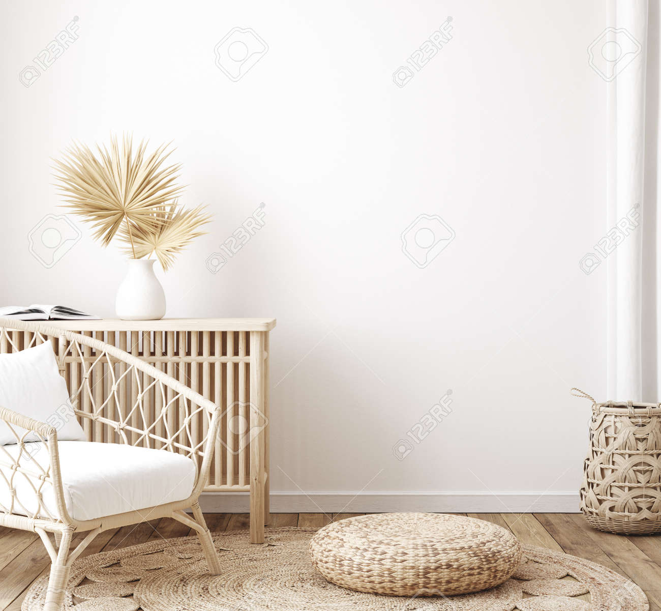 Home interior background, room with minimal decor, 3d render - 168042236