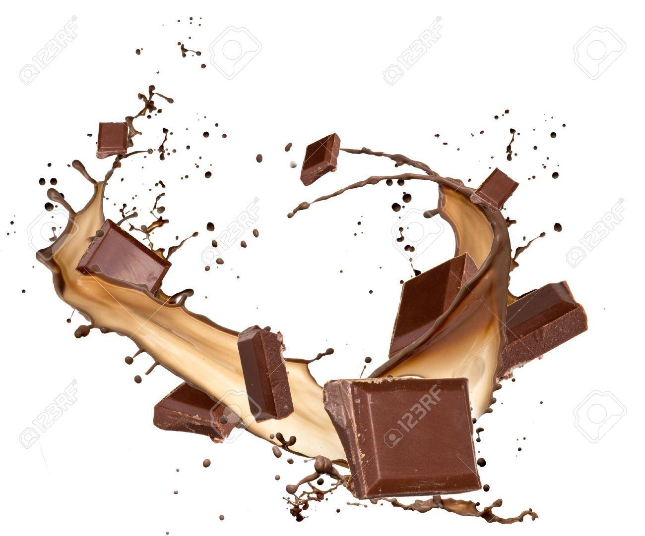 Chocolate bars in chocolate splash, isolated on white background Stock Photo - 12574237