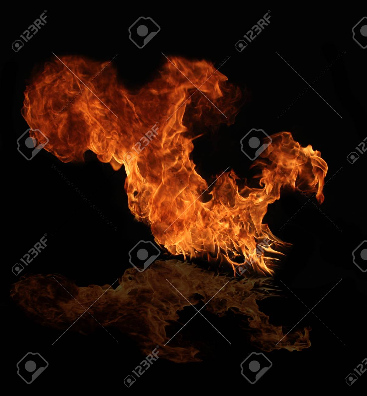 Fire flame with water reflection Stock Photo - 12574432
