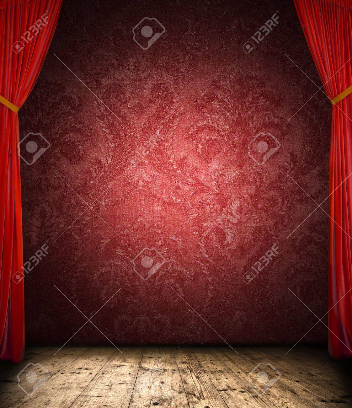 Retro curtain with stage Stock Photo - 13552081
