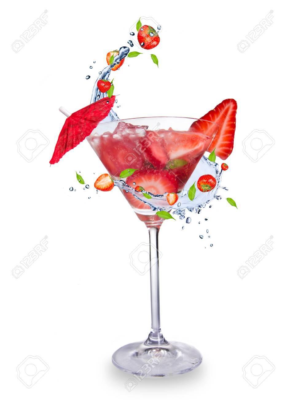 Strawberry mojito drink with splash, isolated on white background Stock Photo - 13552023