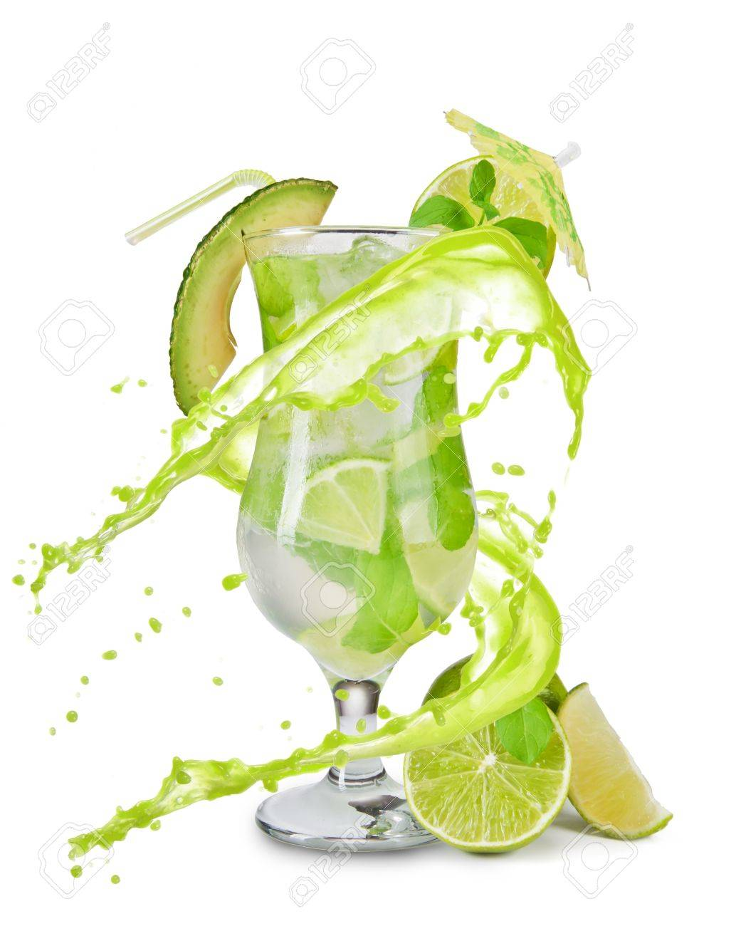 Mojito drink with splash, isolated on white background Stock Photo - 14078684