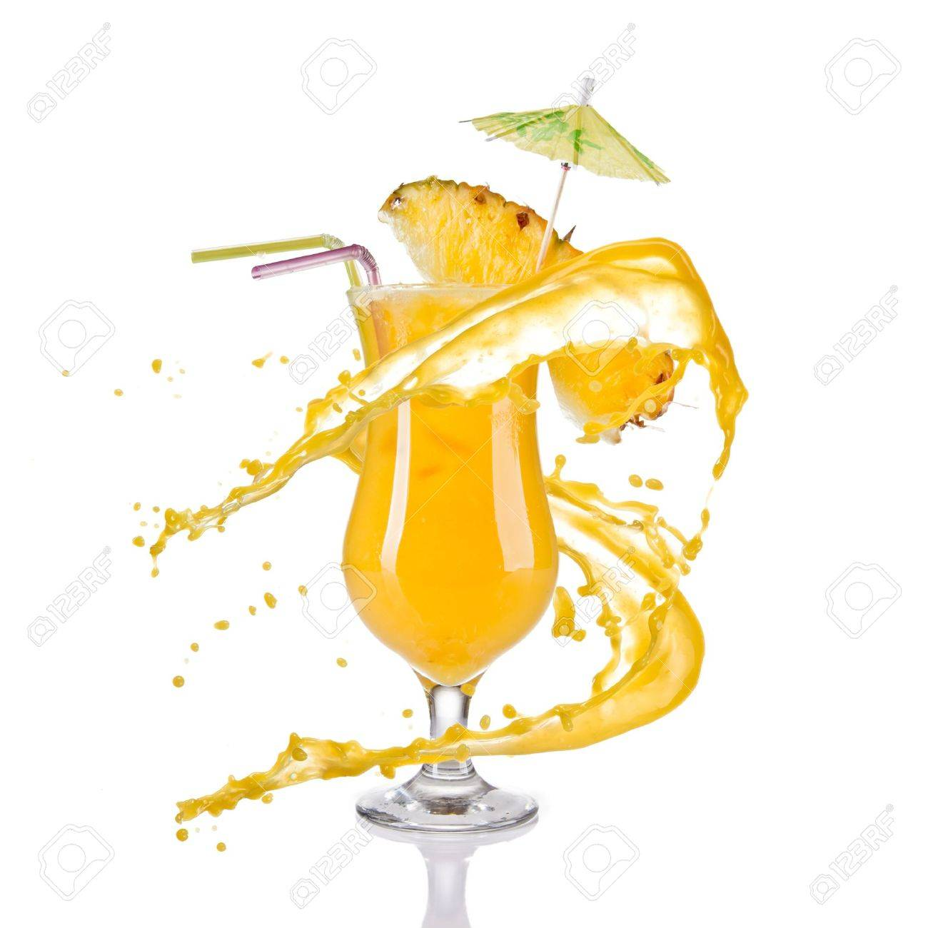 Fresh pineapple cocktail with juice splash, isolated on white background - 14078693