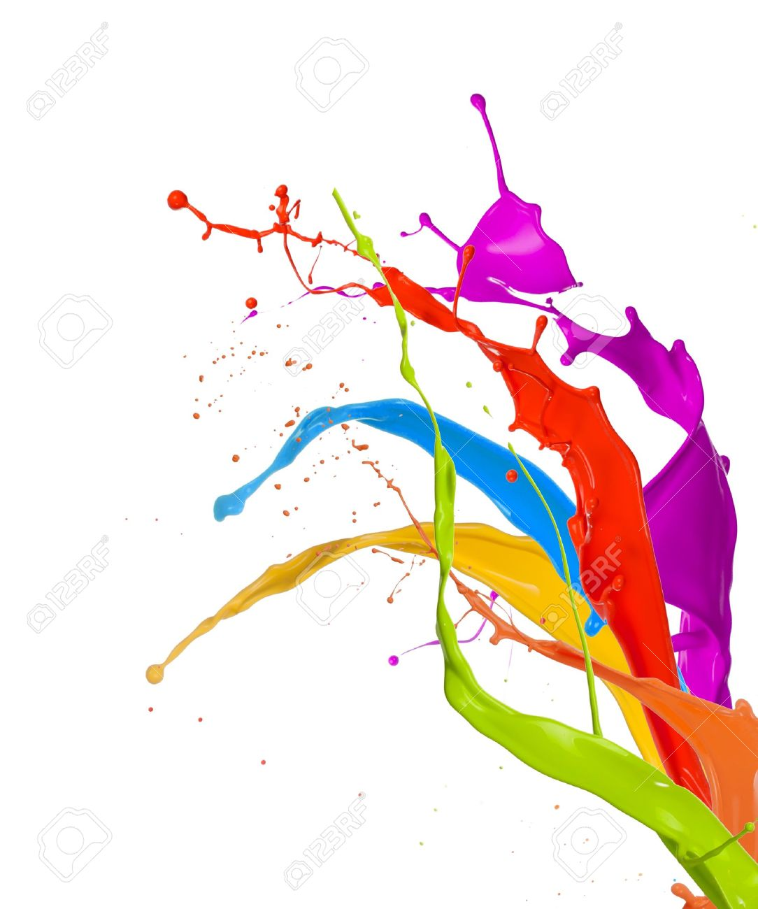 Colored paint splashes bouquet isolated on white background Stock Photo - 15515886