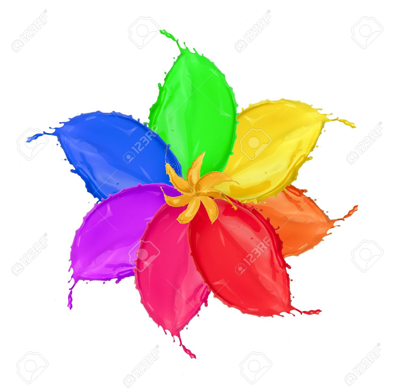 Colored Flower Blossom Made Of Paint Splashes Isolated On White