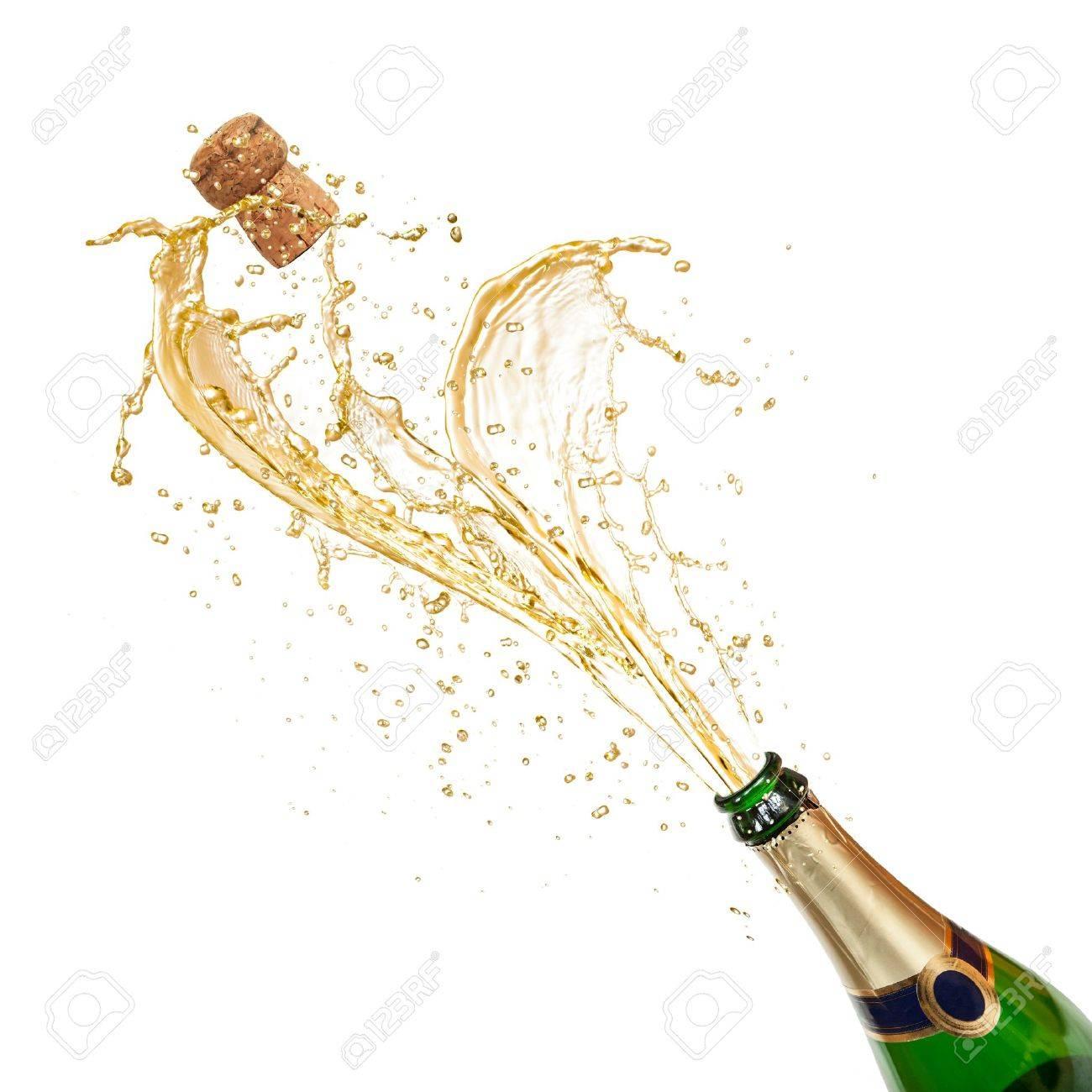 Champagne wine splash, isolated on white background Stock Photo - 16213259