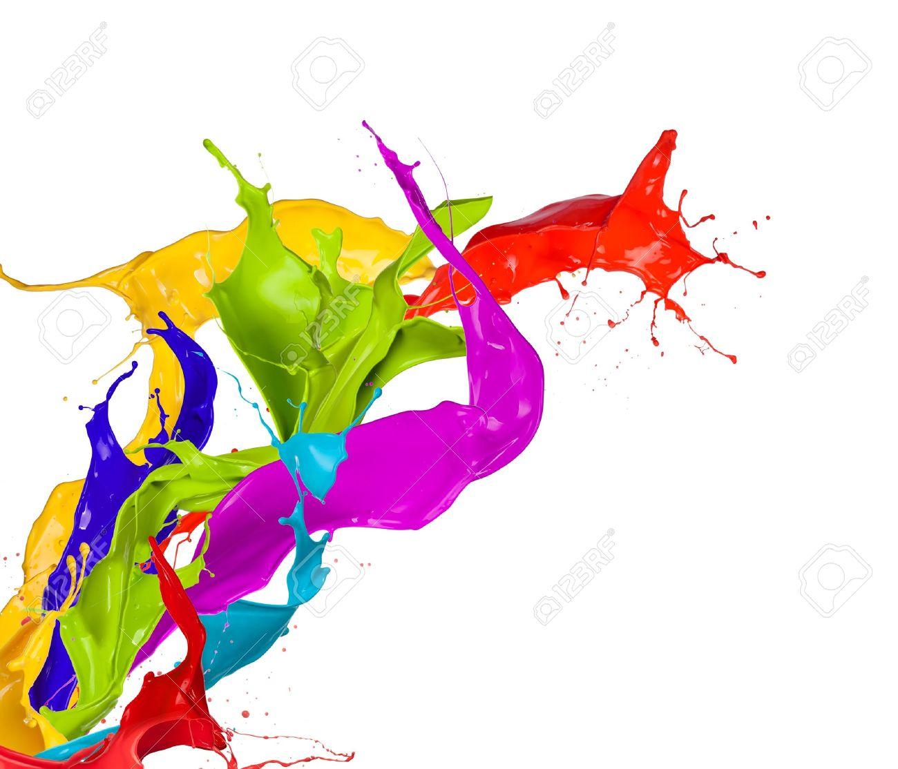 Colored paint splashes isolated on white background - 16593927