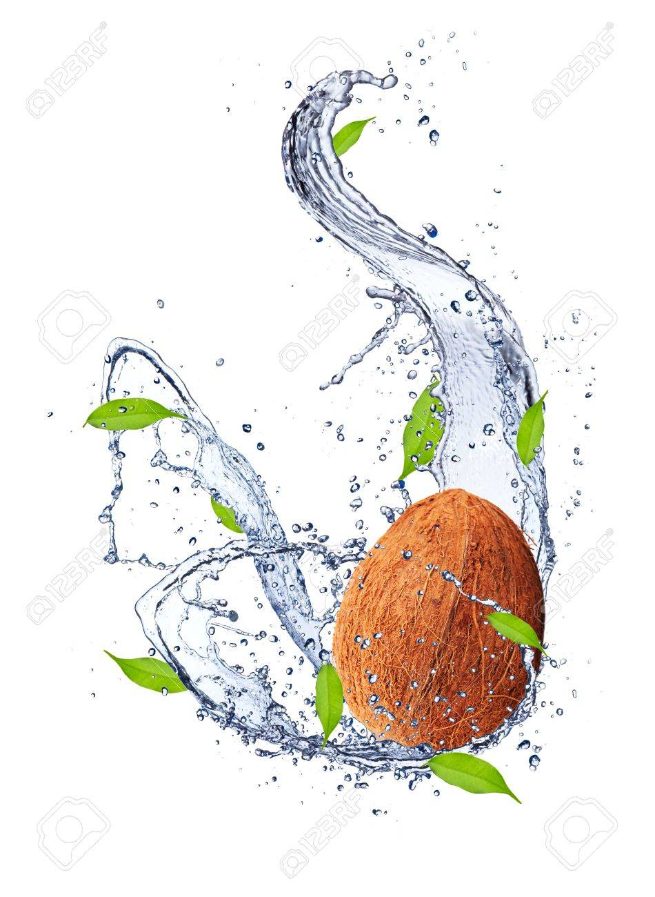 Coconut in water splash, isolated on white background Stock Photo - 16725456