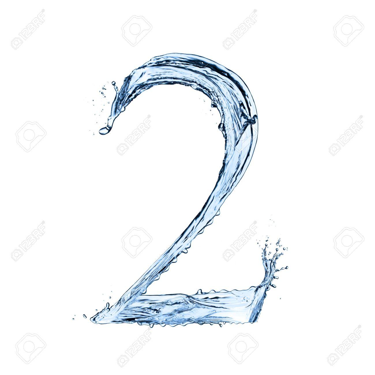 "Water splashes number ""2"" isolated on black background - 20450076"