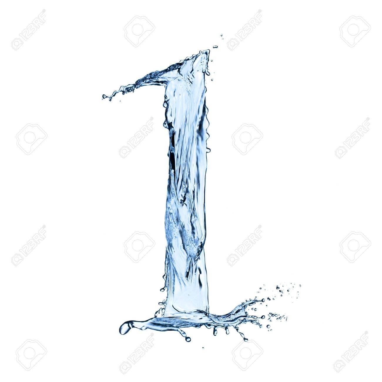 "Water splashes number ""1"" isolated on black background - 20452019"