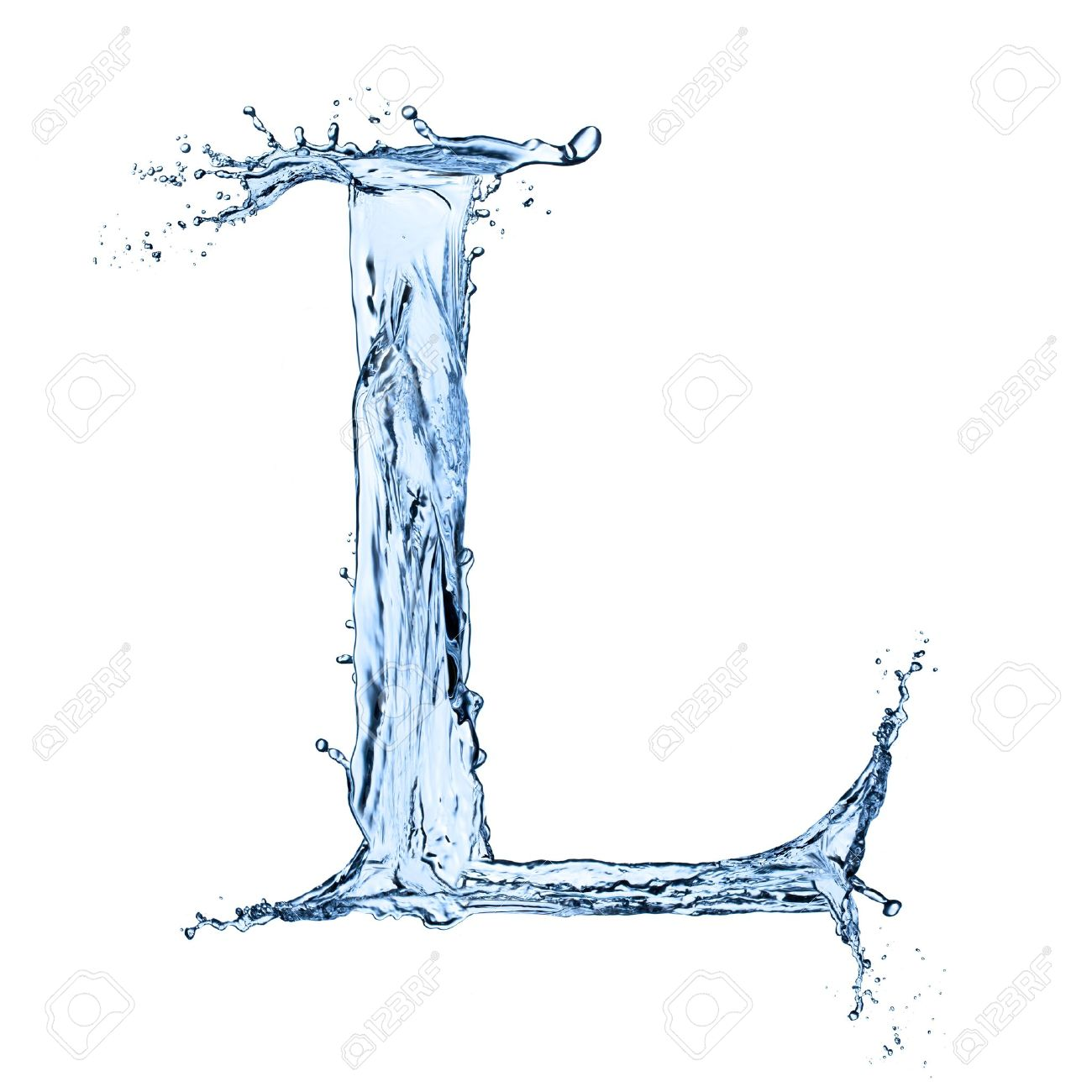 Nice Letter L: Water Splashes Letter L Isolated On Black Background