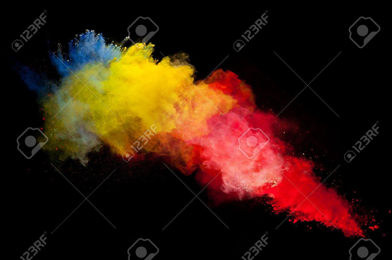 Congelar Movimiento De Explosión De Polvo De Color Sobre Fondo Negro ...