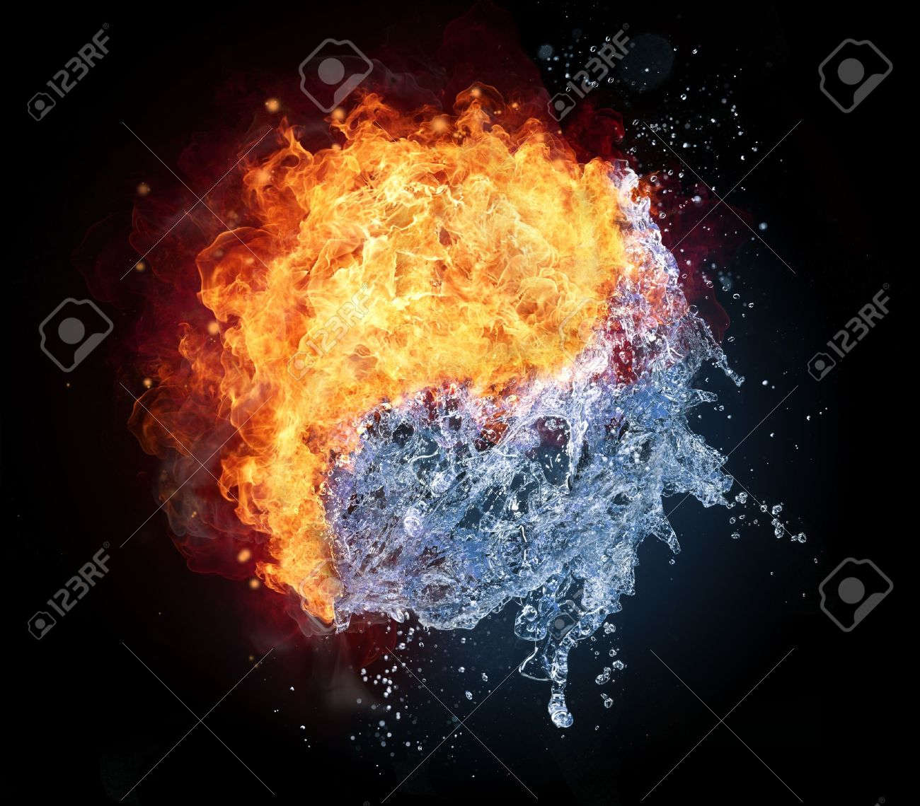 Yin yang symbol made of water and fire isolated on black yin yang symbol made of water and fire isolated on black background stock photo biocorpaavc Choice Image