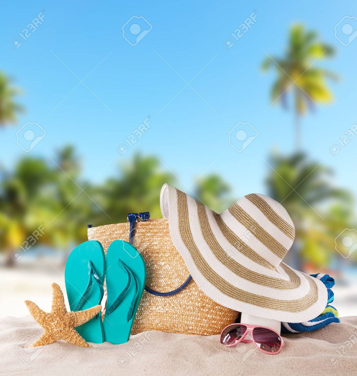Sandals shoes holidays - Straw Sandals Summer Concept With Accessories On Sandy Beach
