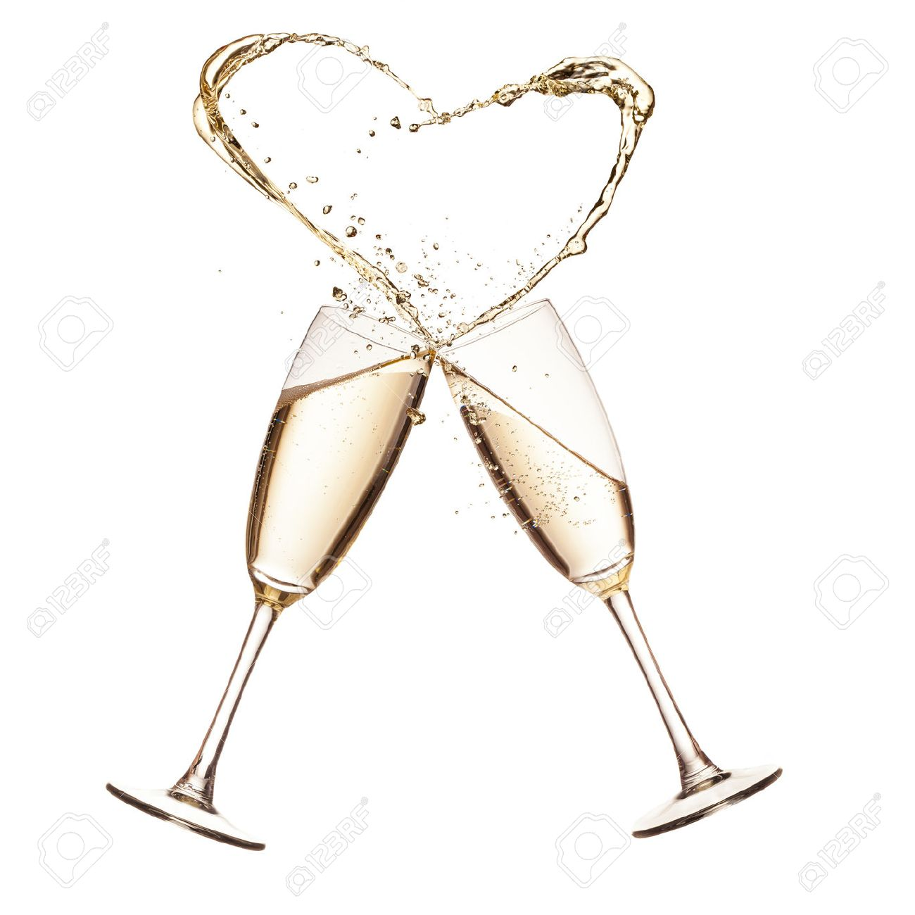 296ce4a510ba Two Glasses Of Champagne With Heart Shape Splash