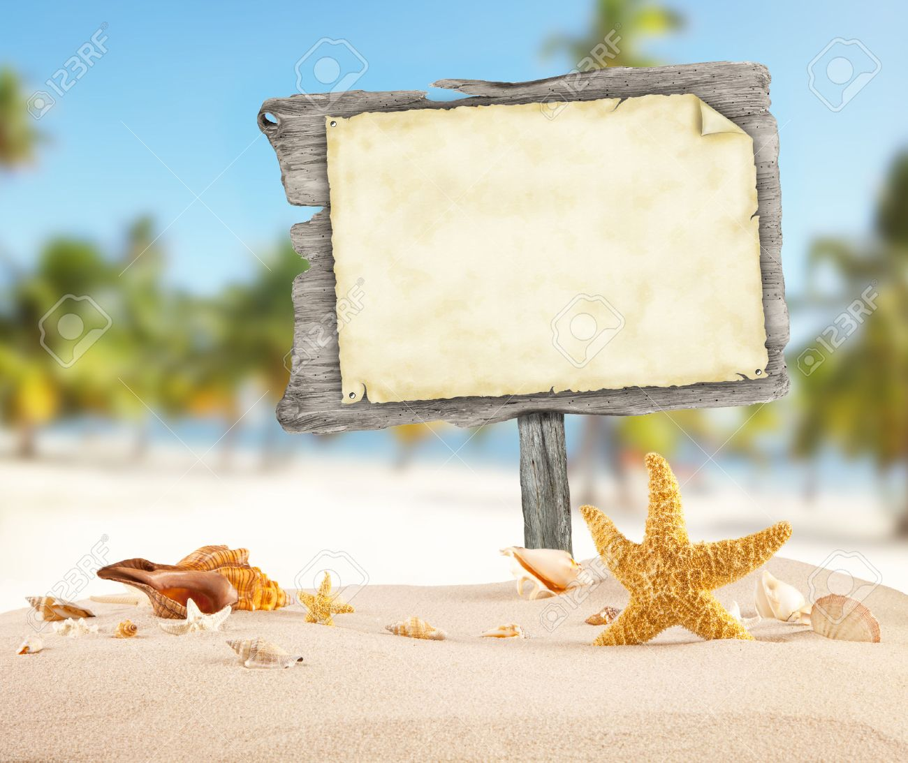 Summer Beach With Shells Stars And Blank Wooden Poster Blur