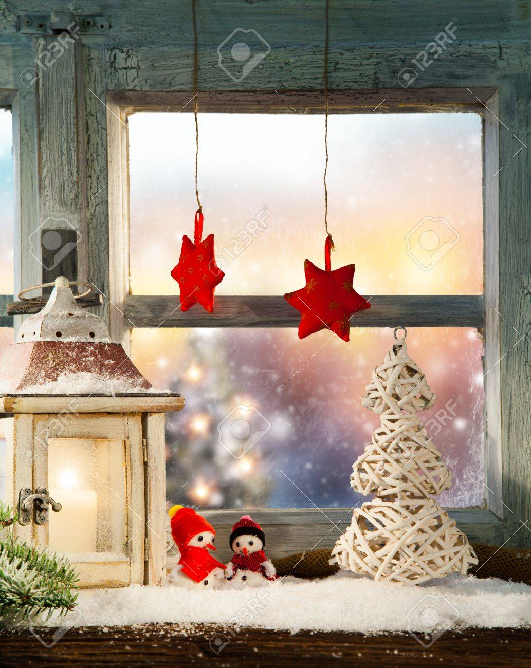 Atmospheric Christmas Window Sill Decoration With Beautiful Evening
