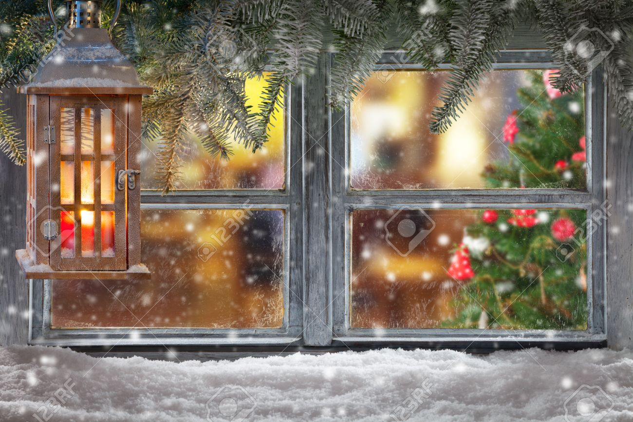 Christmas Window.Atmospheric Christmas Window Sill Decoration With Home Cozy Interior