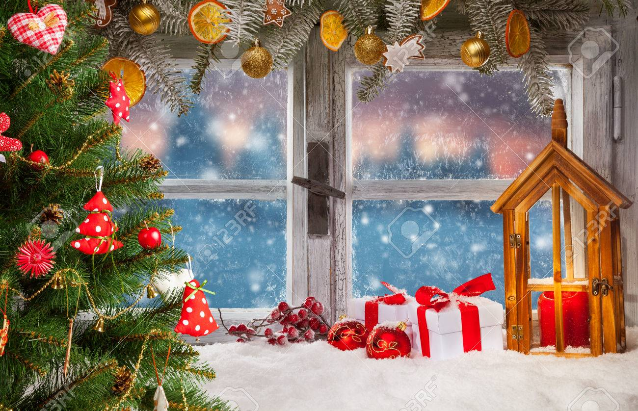 Atmospheric Christmas Window Sill Decoration With Beautiful Sunset