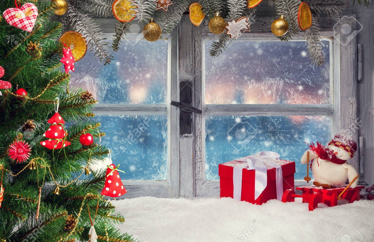 Christmas Window.Atmospheric Christmas Window Sill Decoration With Beautiful Sunset