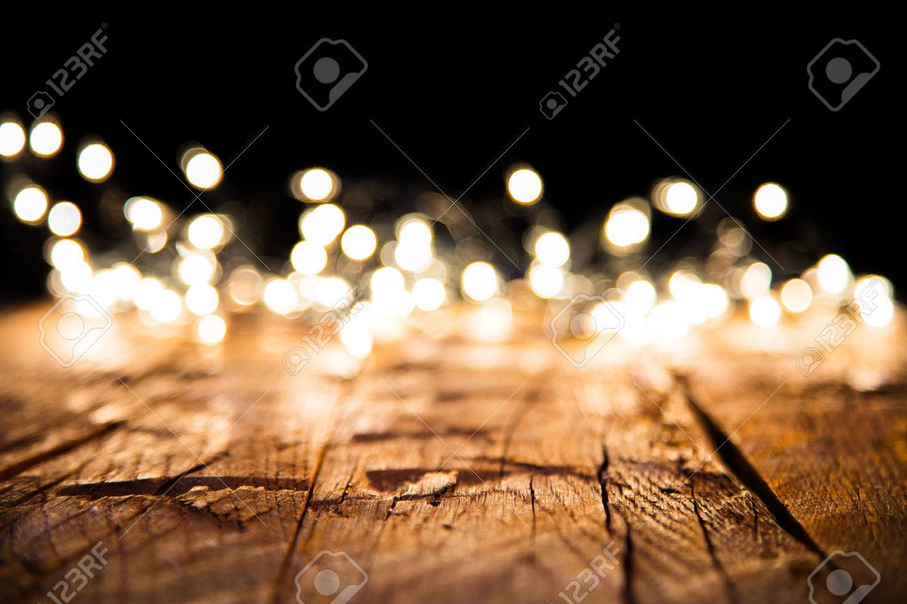 Blur Christmas Lights On Wooden Planks, Low Depth Of Focus With ...