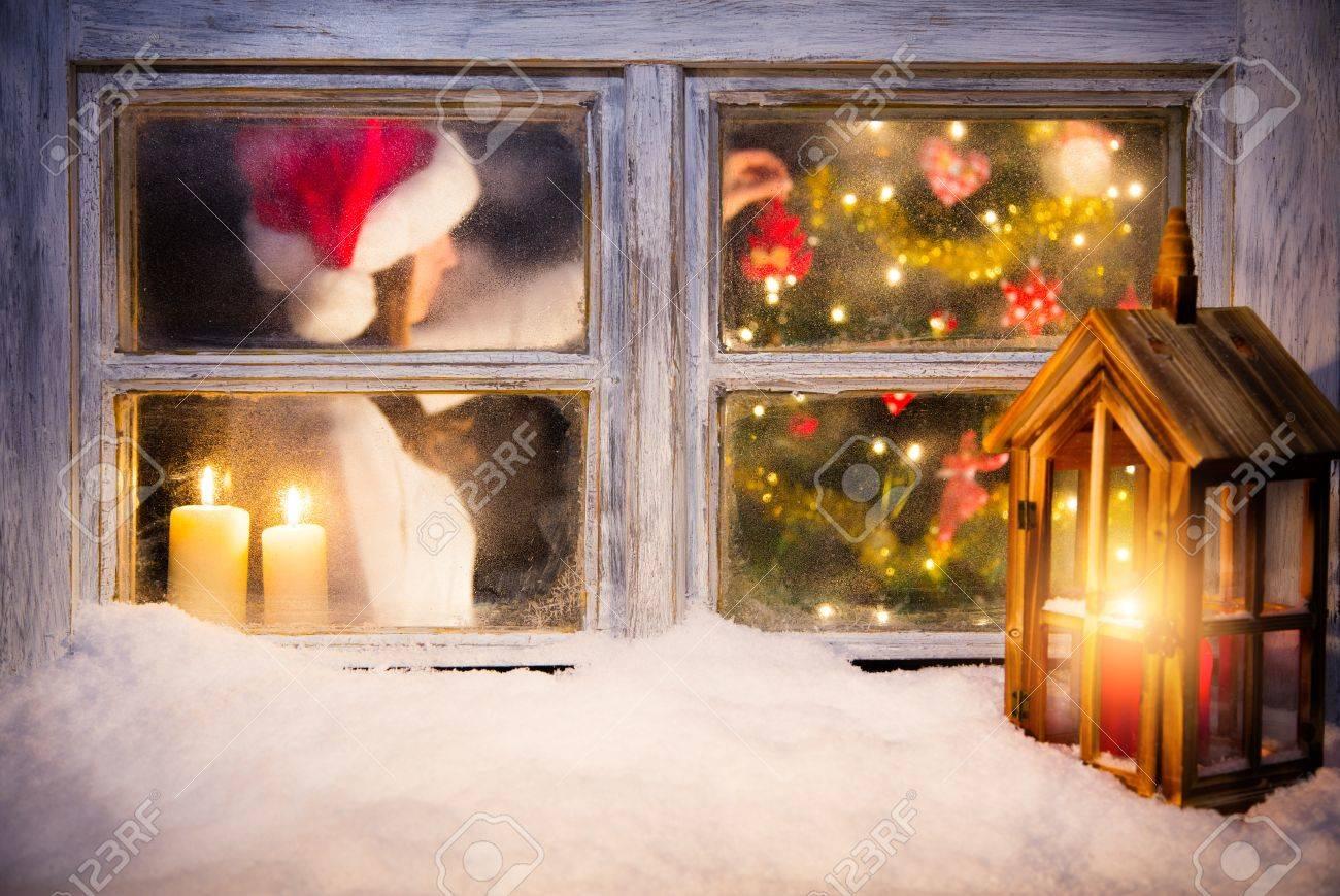 Atmospheric Christmas Window With Santa Girl Dressing Christmas ...