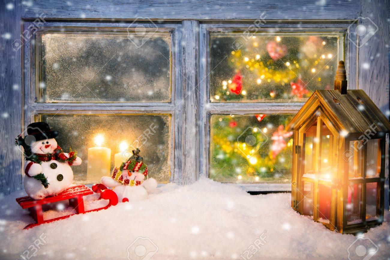Fenetre Atmospherique Decoration De Noel Avec Rebord Interieur