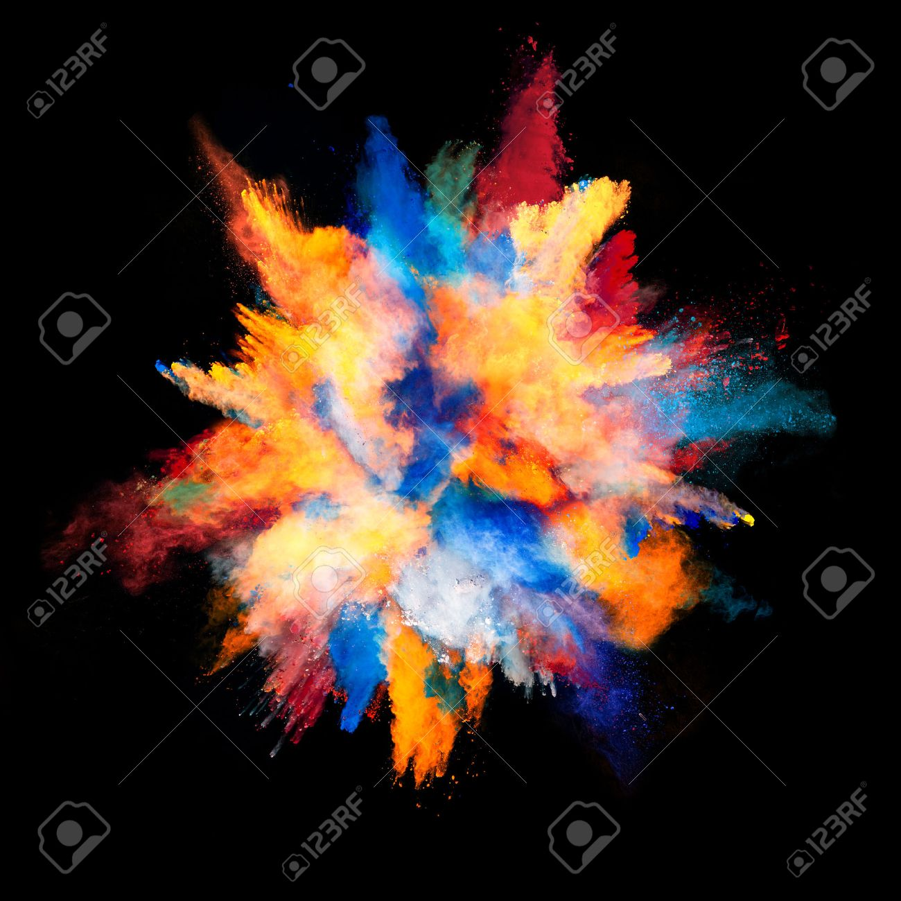 Explosion of colored powder, isolated on black background - 51336540