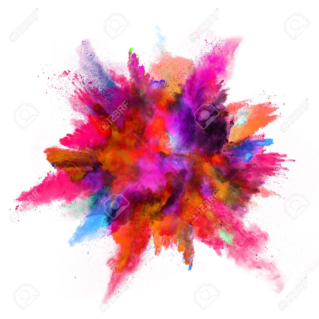 Explosion of colored powder, isolated on white background - 53031743
