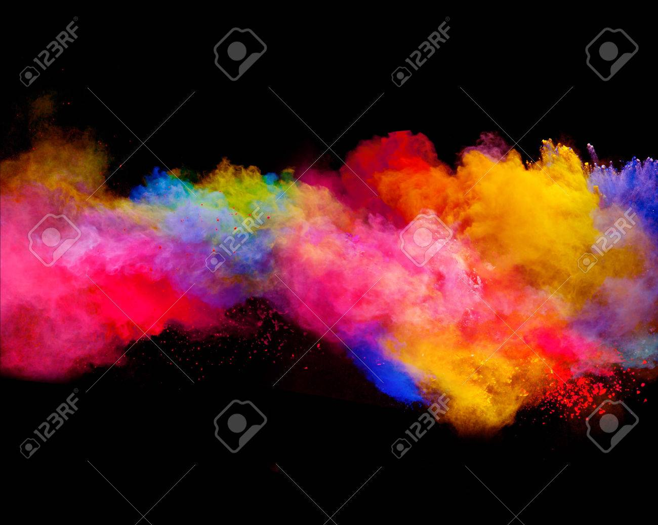 Explosion of colored powder, isolated on black background - 53581546