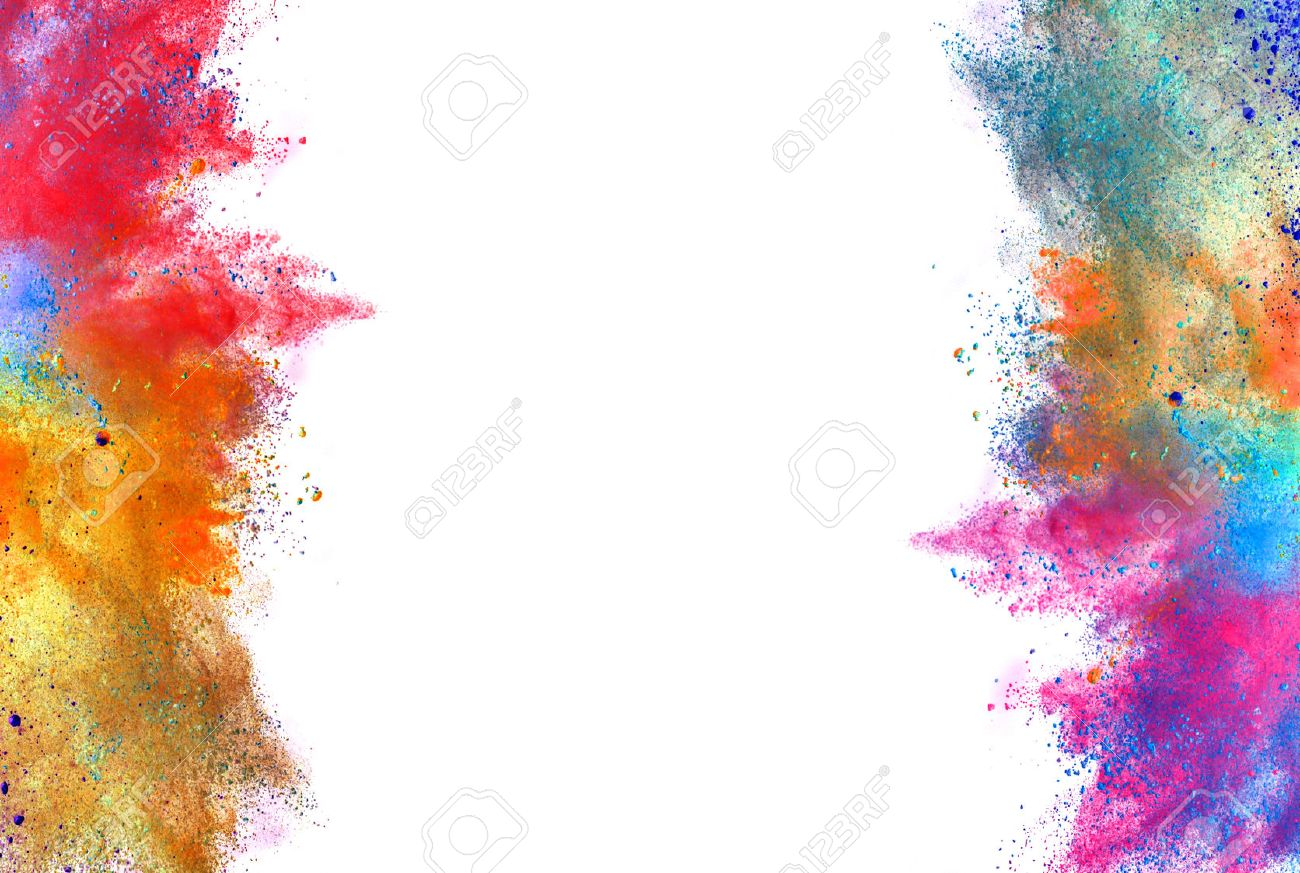 Explosion of colored powder, isolated on white background - 56715969