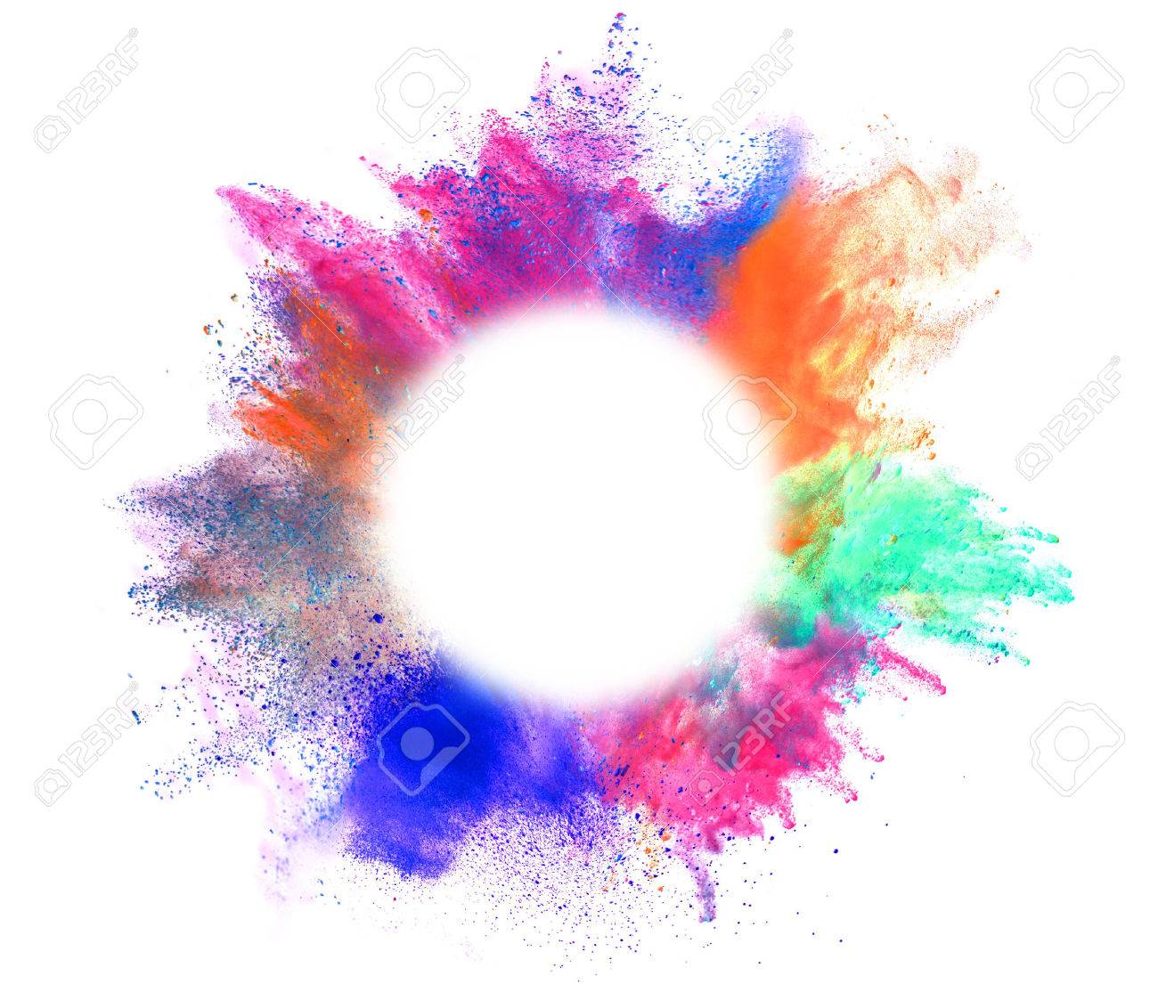 explosion of colored powder with empty space for text isolated