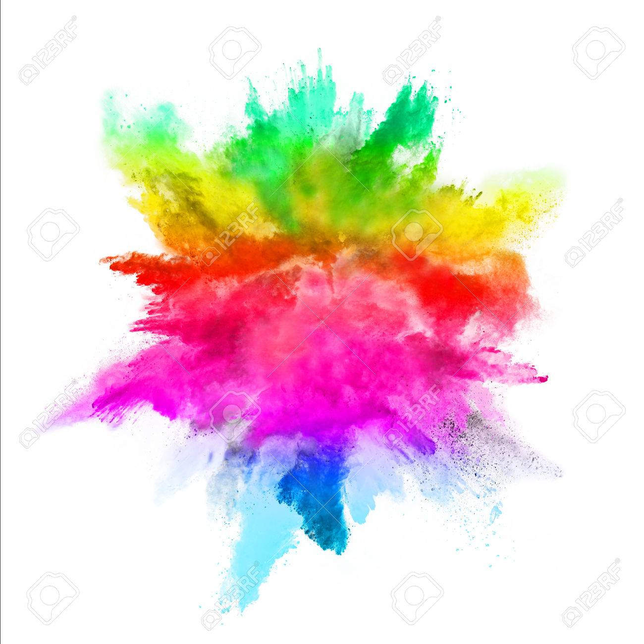 Explosion of colored powder, isolated on white background - 63790334