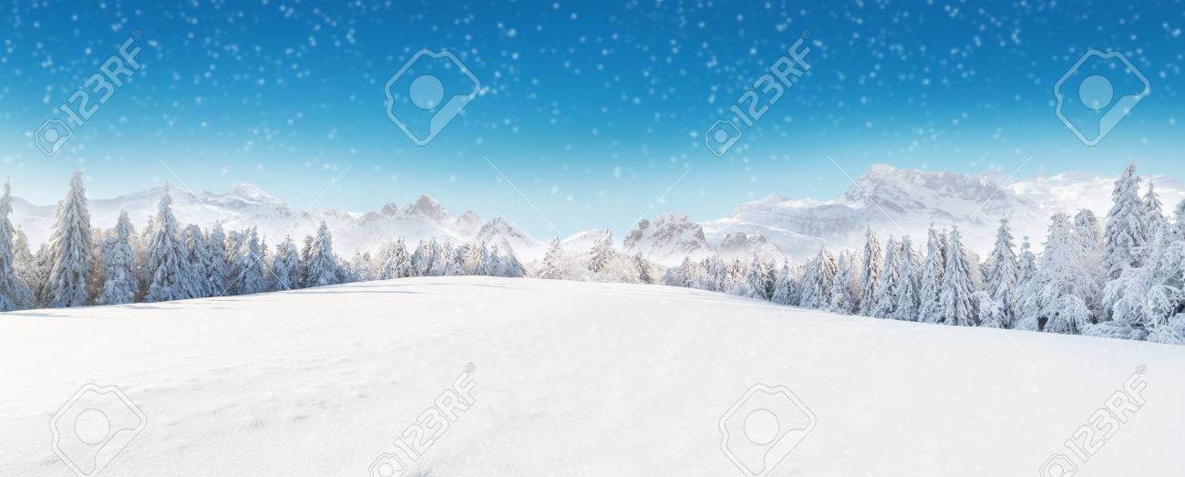 Beautiful winter panorama with fresh powder snow. Landscape with spruce trees, blue sky with sun light and high Alpine mountains on background - 65146867