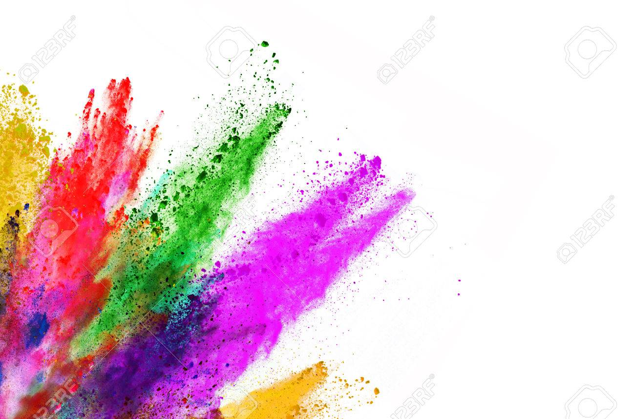 Explosion of colored powder, isolated on white background - 66307874