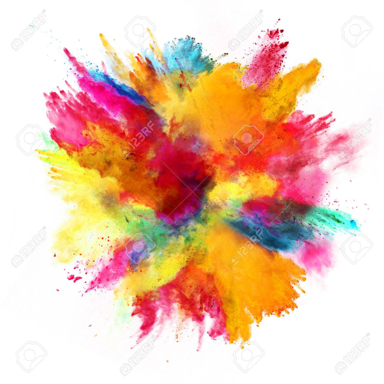 Explosion of colored powder, isolated on white background - 70485356
