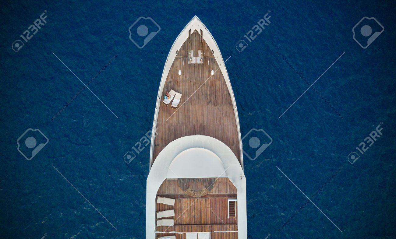 Aerial close-up view of big luxury yacht in sea, copyspace for text - 71670976