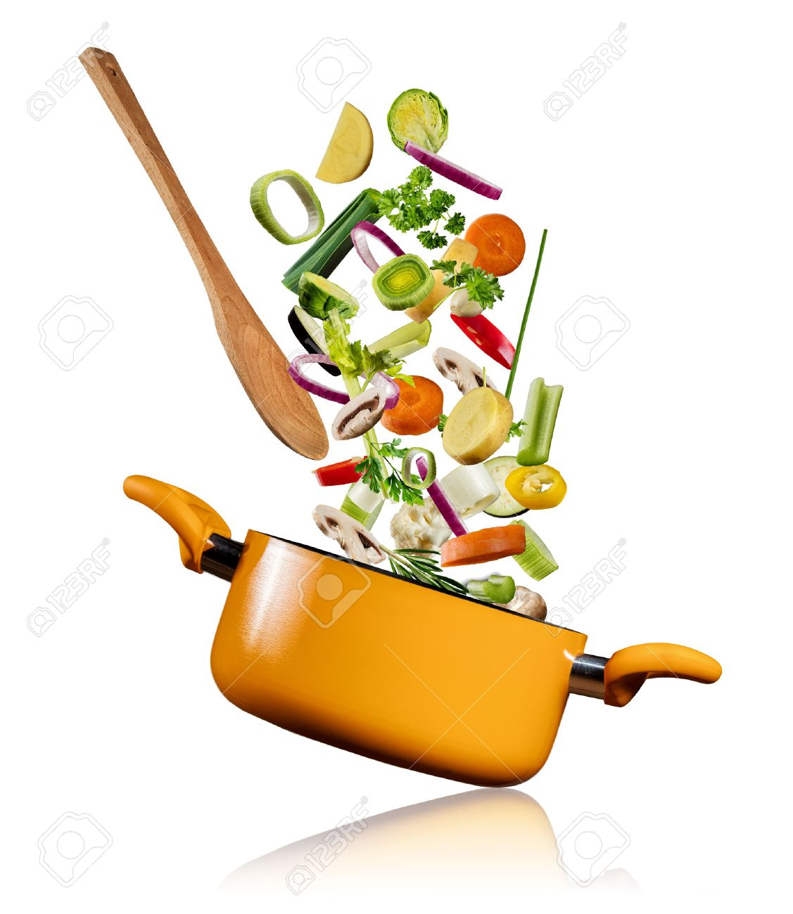 Fresh vegetables flying into a pot with wooden spoon, isolated on white background - 73597089